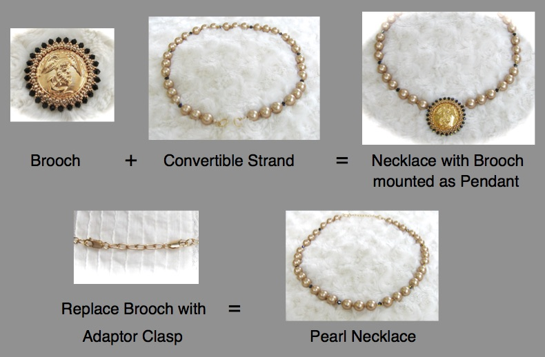 Convertible Strand and a Button Brooch Set