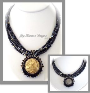 Double Strand Necklace with permanently mounted USMC Embellished Button.