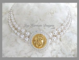 Double Stranded Swarovski Pearl Necklace with Embellished Focal Button