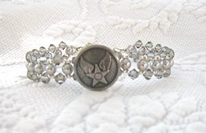 USAF Woven Bracelet in Grey Crystal & Pearl