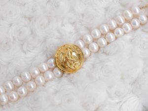 Large button (no embellishment), 2 Strands Swarovski Pearl Beads