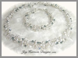 Pearl & Crystal on Fine Silver Necklace & Bracelet Set
