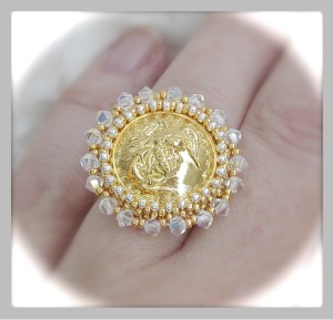 Small Button USMC Ring in Gold & Clear Crystals