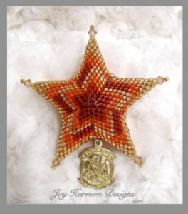 Flame Stitch Star Ornament with Marine Squadron patch charm